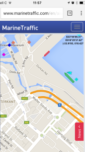 The AIS information displaying the vessel with our car being moored by two pilot boats.