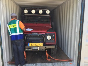 Our car in the container right after opening it in Cape Town.