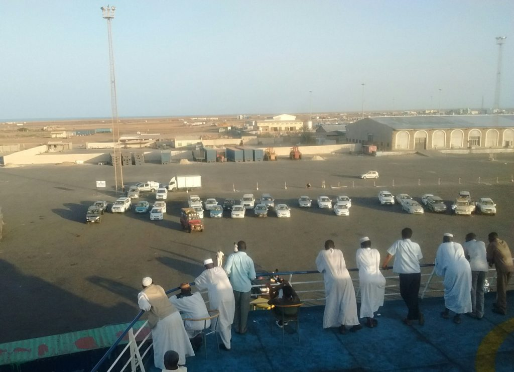 Our car being loaded onto the ship - leaving Africa.