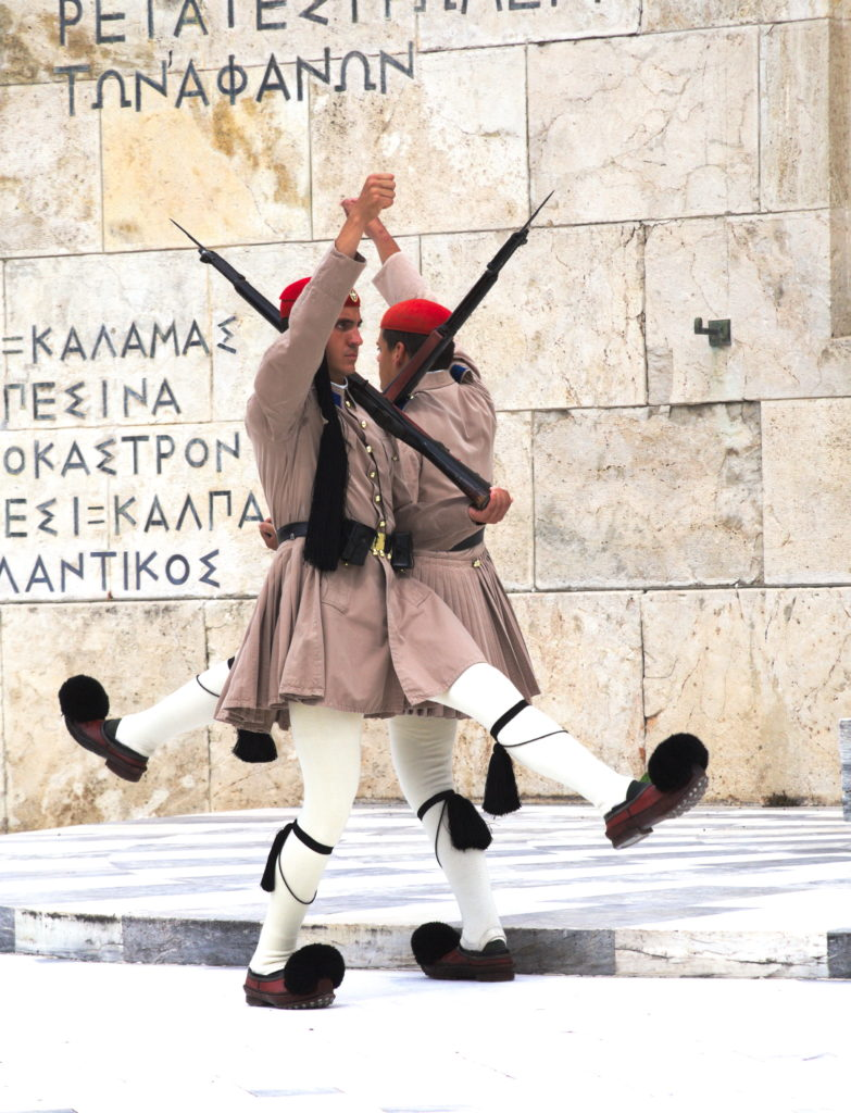 Guards in front of the presidential palace in Athens.