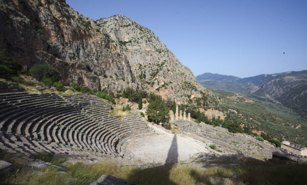View over Delphi from the top of the amphitheater.
