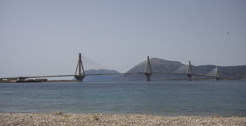 The Rio-Antirrio suspension bridge from Peloponnese to mainland Greece near Patras.